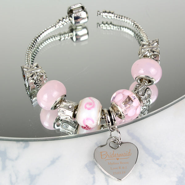 Personalised Swirls & Hearts Bridesmaid Charm Bracelet - Candy Pink - 18cm with personalised name