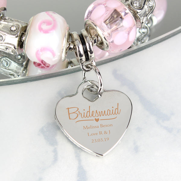 Personalised Swirls & Hearts Bridesmaid Charm Bracelet - Candy Pink - 18cm