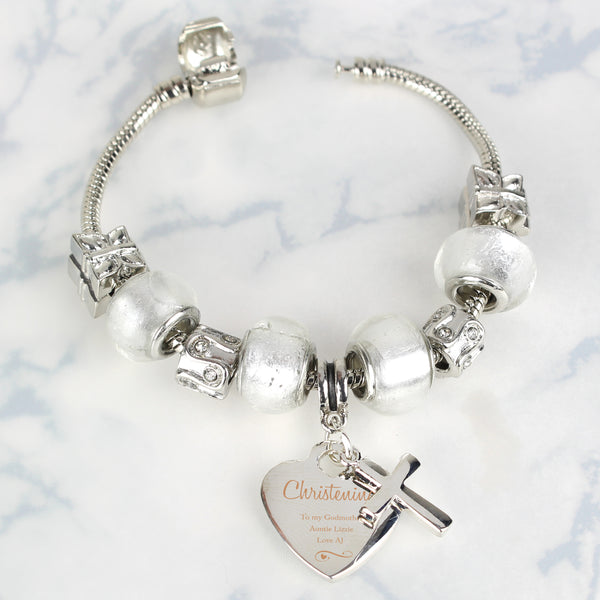 Personalised Swirls & Hearts Christening Cross Charm Bracelet - Ice White - 18cm