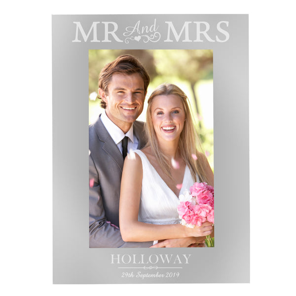 Personalised Silver Mr & Mrs 6x4 Photo Frame white background