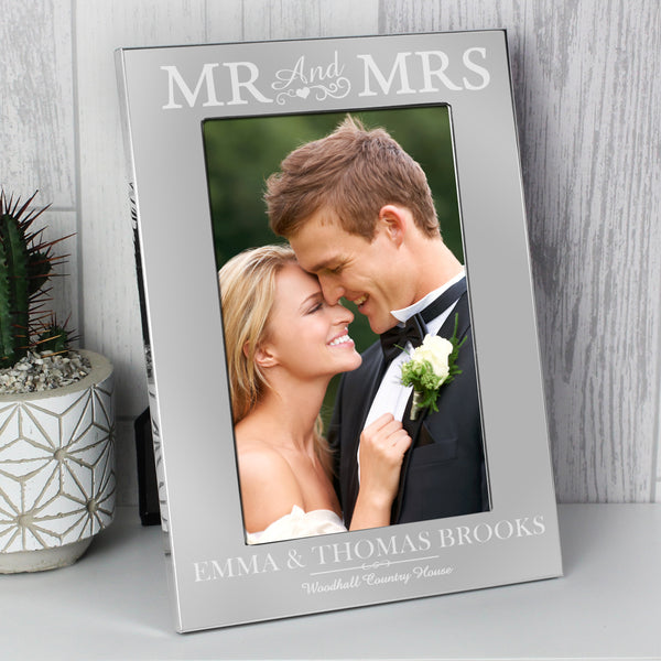 Personalised Silver Mr & Mrs 6x4 Photo Frame from Sassy Bloom Gifts - alternative view