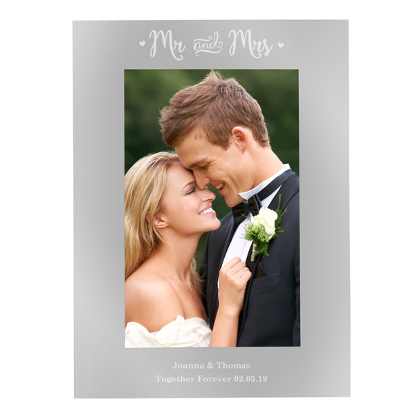 Personalised Silver Mr & Mrs 6x4 Photo Frame lifestyle image