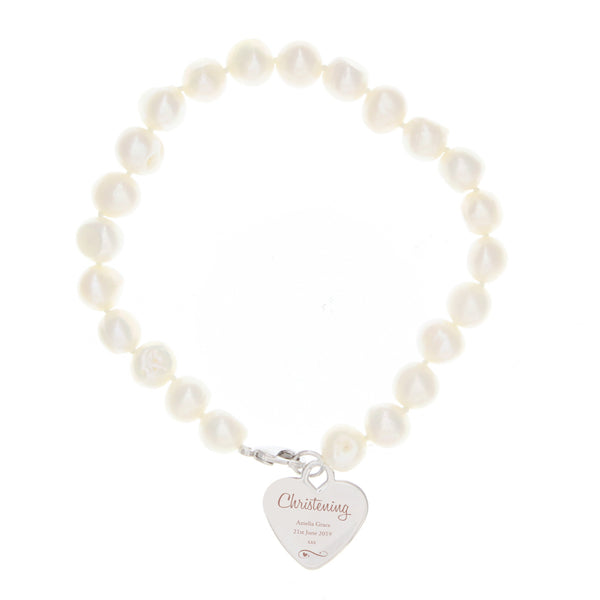 Personalised Christening Swirls & Hearts White Freshwater Pearl Bracelet white background