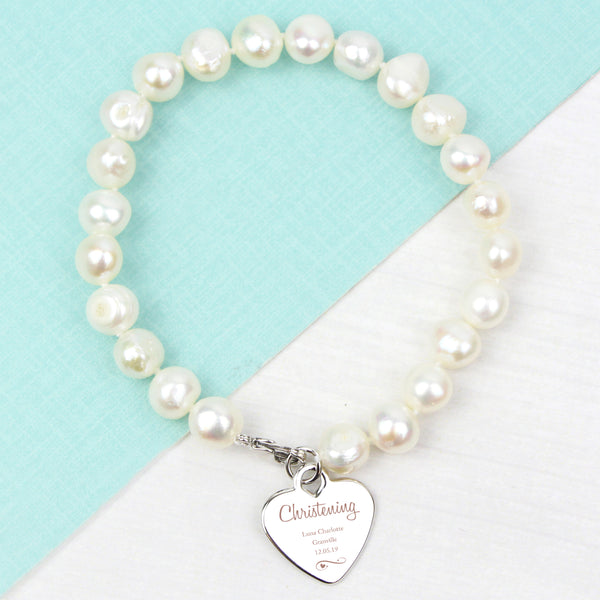 Personalised Christening Swirls & Hearts White Freshwater Pearl Bracelet with personalised name