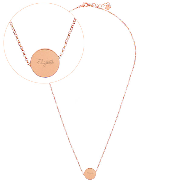 Personalised Any Name Rose Gold Tone Disc Necklace white background