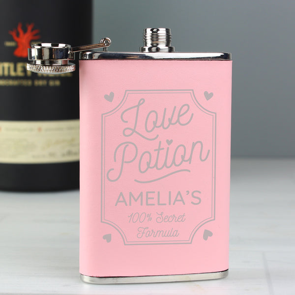 Personalised Love Potion Pink Hip Flask lifestyle image