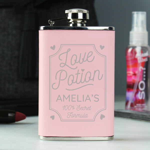 Personalised Love Potion Pink Hip Flask with personalised name