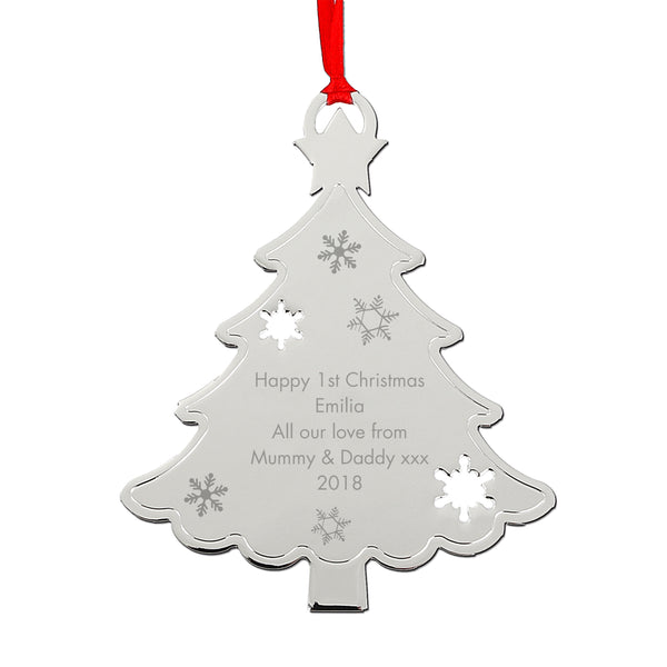 Personalised Any Message Christmas Tree Decoration white background