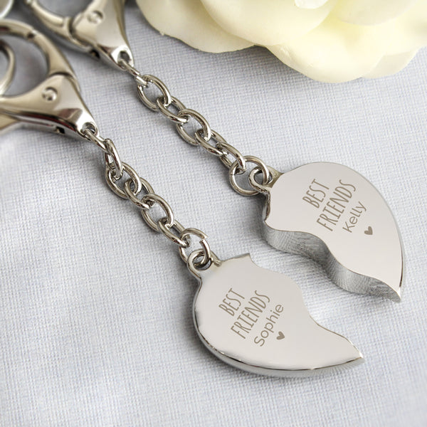 Personalised Best Friends Two Hearts Keyring with personalised name
