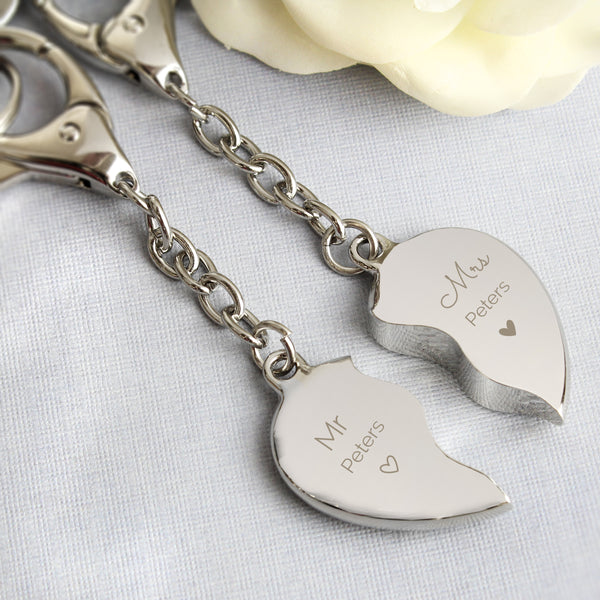 Personalised Mr & Mrs Two Hearts Keyring from Sassy Bloom Gifts - alternative view