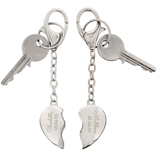 Personalised Any Message Two Hearts Keyring white background