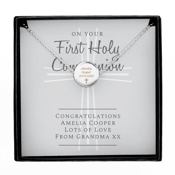 Personalised First Holy Communion Necklace & Box white background