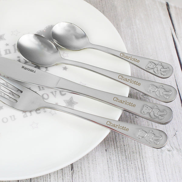 Personalised Teddy 4 Piece Embossed Cutlery Set white background