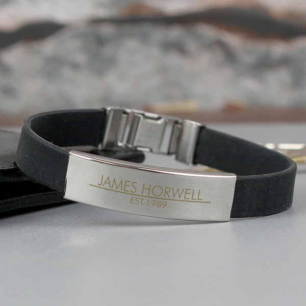 Personalised Classic Stainless Steel Men's Black Bracelet white background