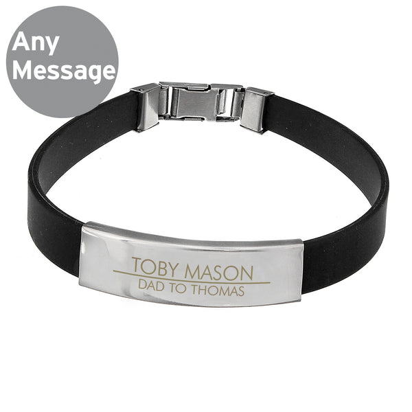 Personalised Classic Stainless Steel Men's Black Bracelet from Sassy Bloom Gifts - alternative view