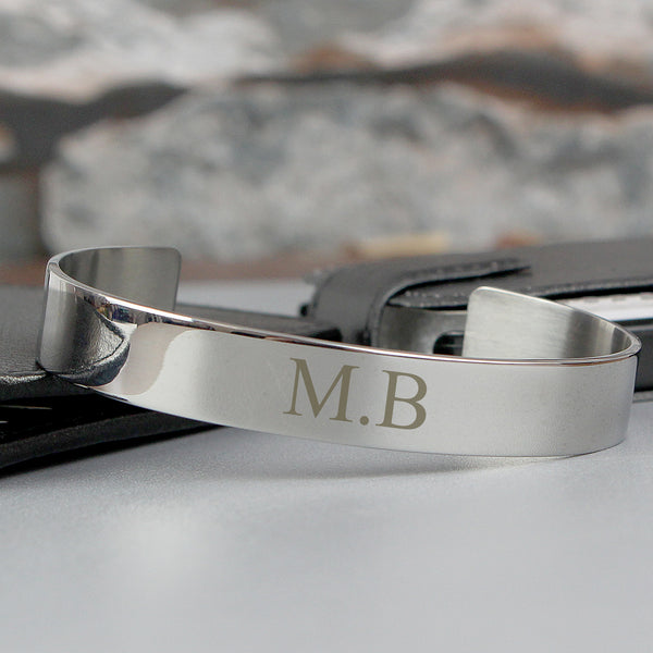 Personalised Initial Stainless Steel Bangle white background