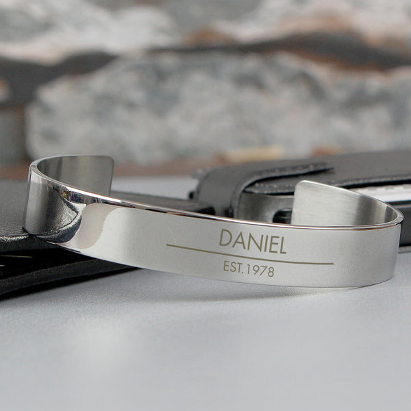 Personalised Classic Stainless Steel Bangle with personalised name