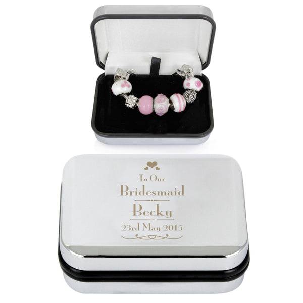 Personalised Decorative Wedding Bridesmaid Silver Box and Candy Pink 18cm Charm Bracelet white background