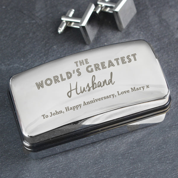 Personalised 'The World's Greatest' Cufflink Box from Sassy Bloom Gifts - alternative view