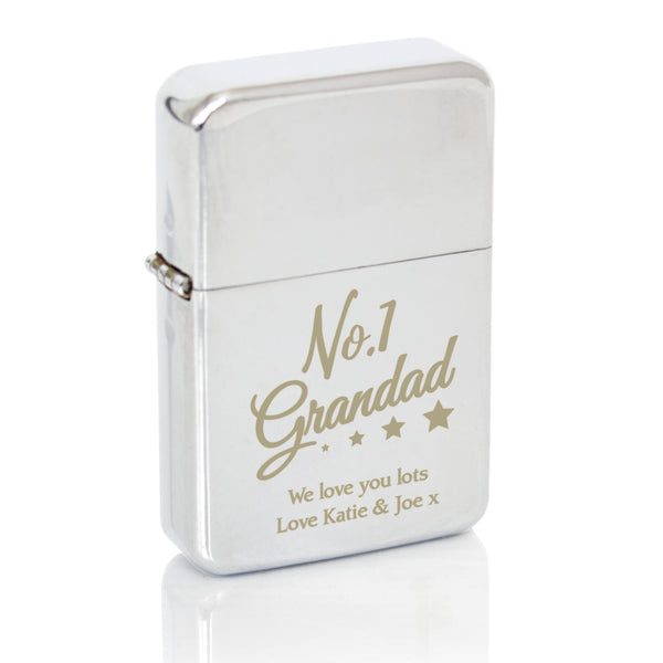 Personalised No.1 Grandad Silver Lighter white background