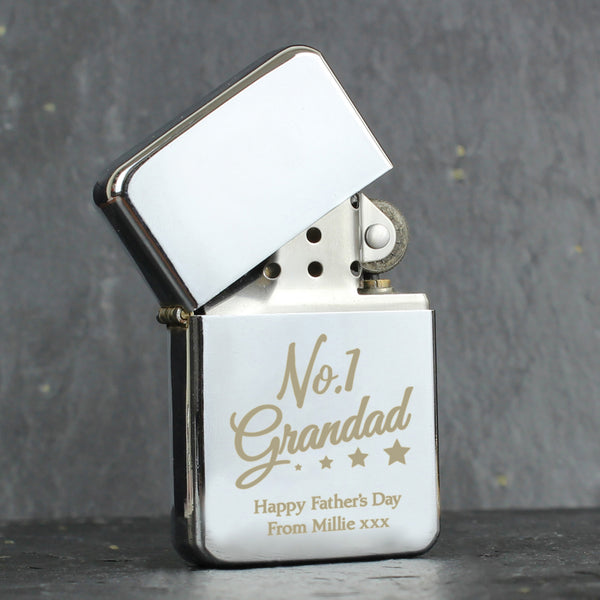 Personalised No.1 Grandad Silver Lighter from Sassy Bloom Gifts - alternative view