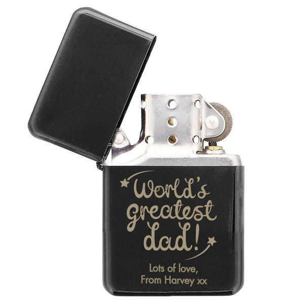 Personalised 'World's Greatest Dad' Black Lighter from Sassy Bloom Gifts - alternative view