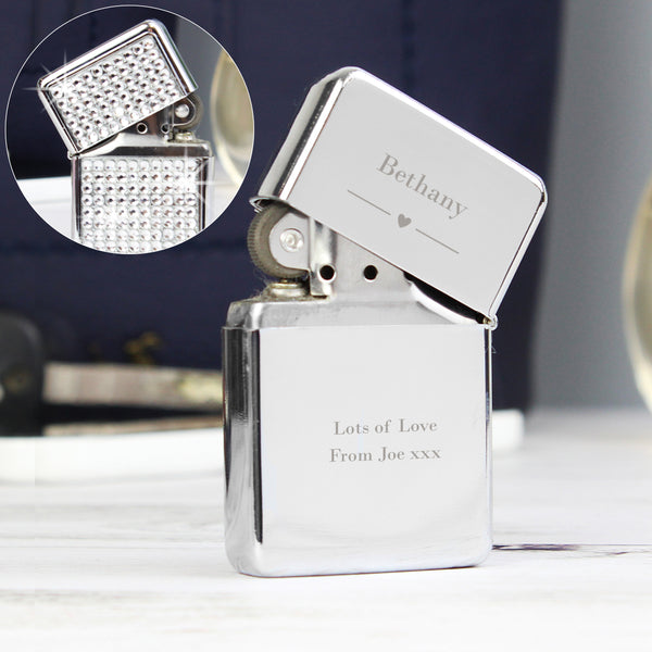 Personalised Decorative Heart Diamante Lighter from Sassy Bloom Gifts - alternative view