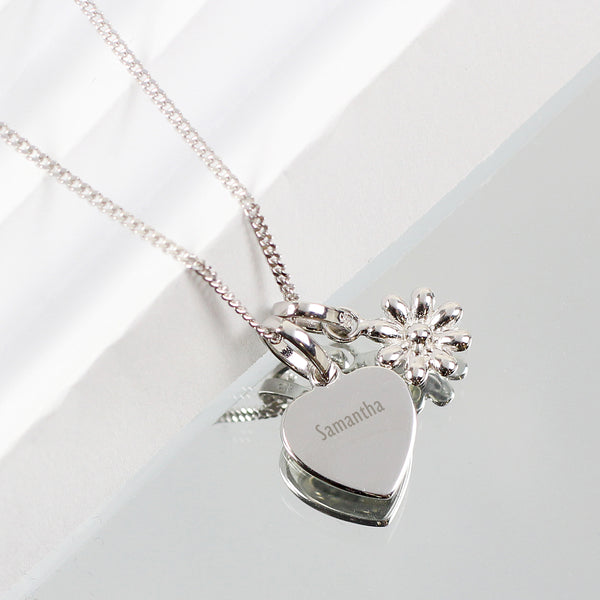 Personalised Heart and Daisy Sterling Silver Necklace lifestyle image