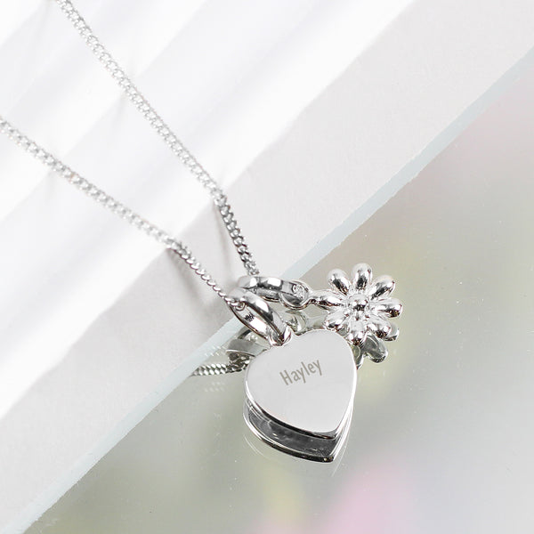 Personalised Heart and Daisy Sterling Silver Necklace with personalised name