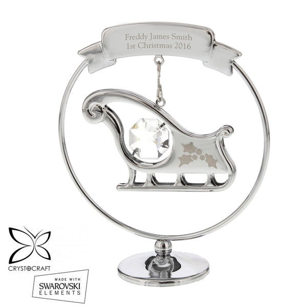 Personalised Crystocraft Sleigh Ornament white background
