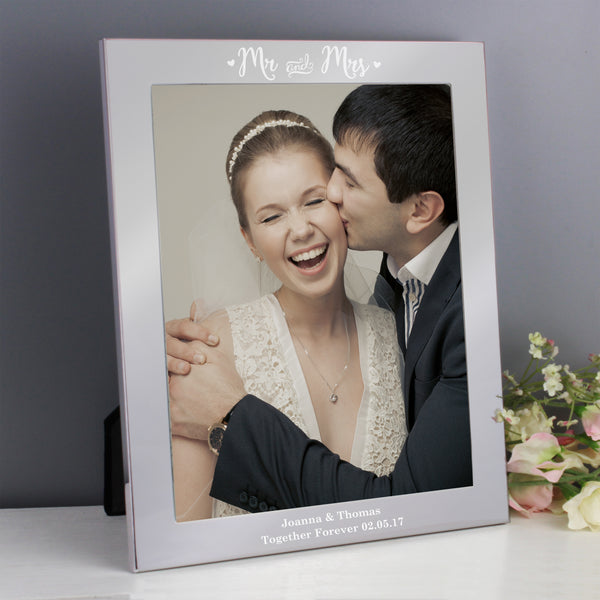 Personalised Mr & Mrs Silver 10x8 Photo Frame from Sassy Bloom Gifts - alternative view