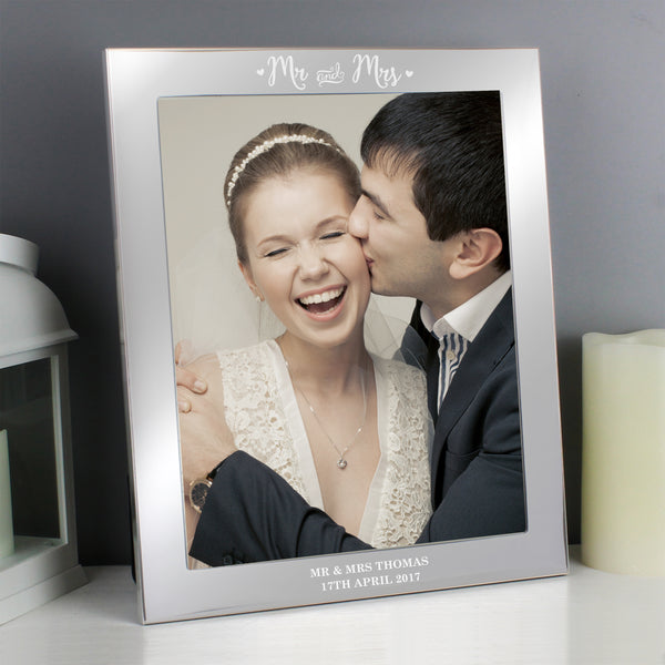 Personalised Mr & Mrs Silver 10x8 Photo Frame lifestyle image