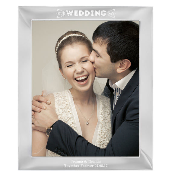Personalised Our Wedding Day Silver 10x8 Photo Frame white background