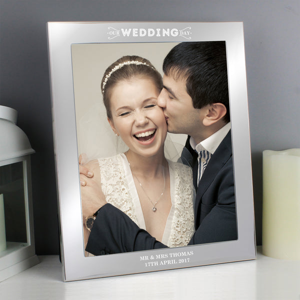 Personalised Our Wedding Day Silver 10x8 Photo Frame from Sassy Bloom Gifts - alternative view