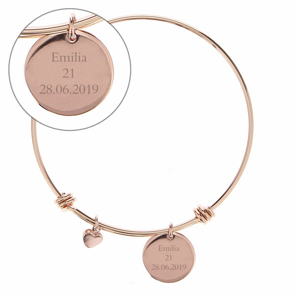 Personalised Rose Gold Coloured Disc and Heart Charm Bracelet white background