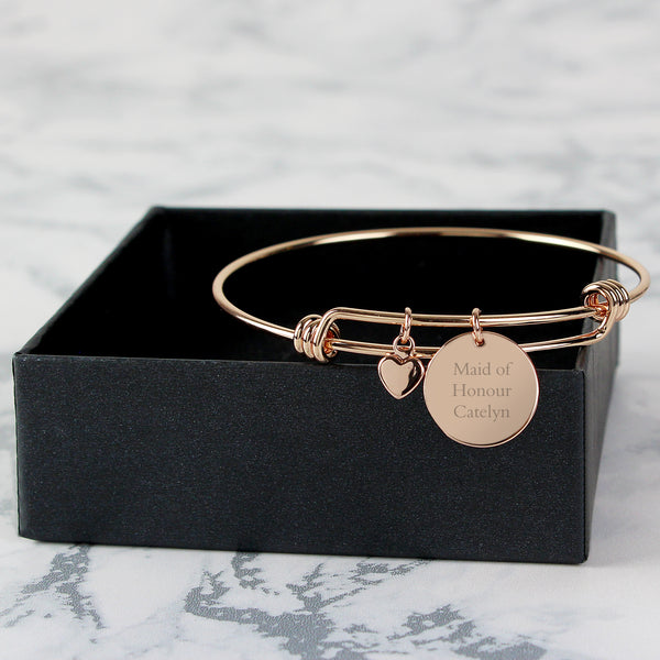 Personalised Rose Gold Coloured Disc and Heart Charm Bracelet from Sassy Bloom Gifts - alternative view
