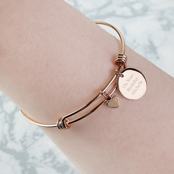 Personalised Rose Gold Coloured Disc and Heart Charm Bracelet lifestyle image