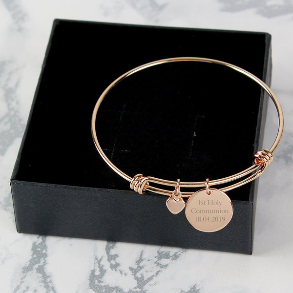 Personalised Rose Gold Coloured Disc and Heart Charm Bracelet with personalised name