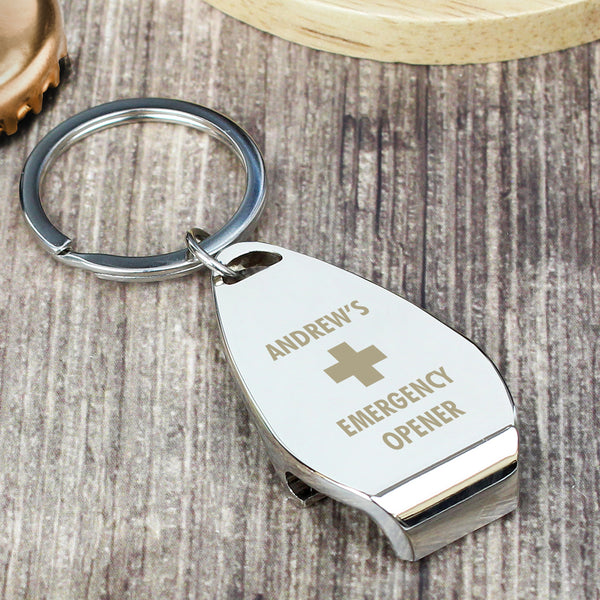 Personalised Emergency Bottle Opener Keyring lifestyle image