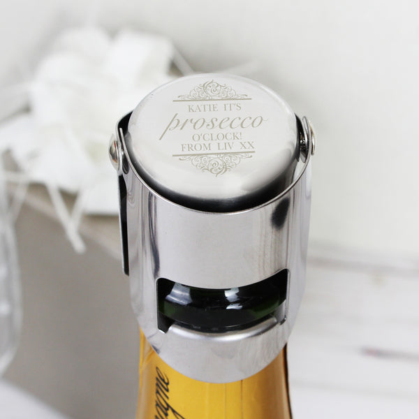 Personalised Prosecco Bottle Stopper lifestyle image