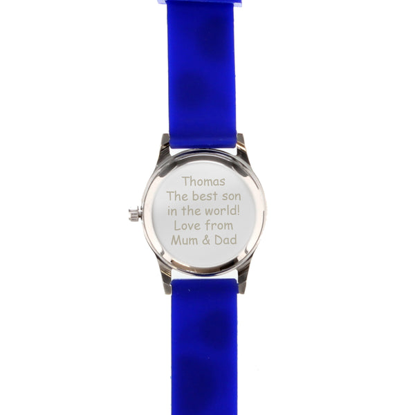 Personalised Kids Blue Time Teacher Watch with Presentation Box white background