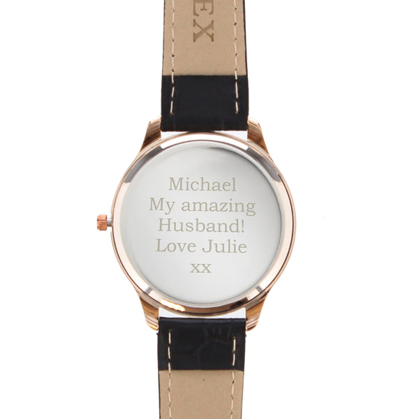 Personalised Mens Rose Gold Watch with Black Strap white background