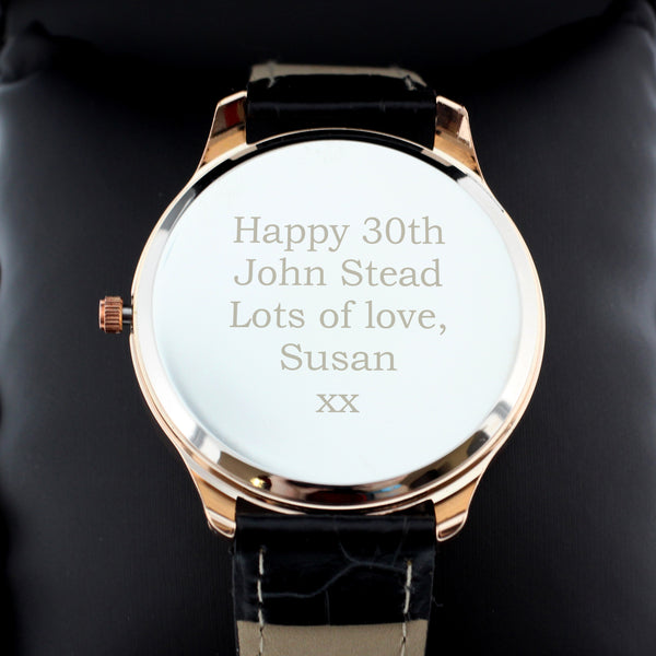 Personalised Mens Rose Gold Watch with Black Strap from Sassy Bloom Gifts - alternative view