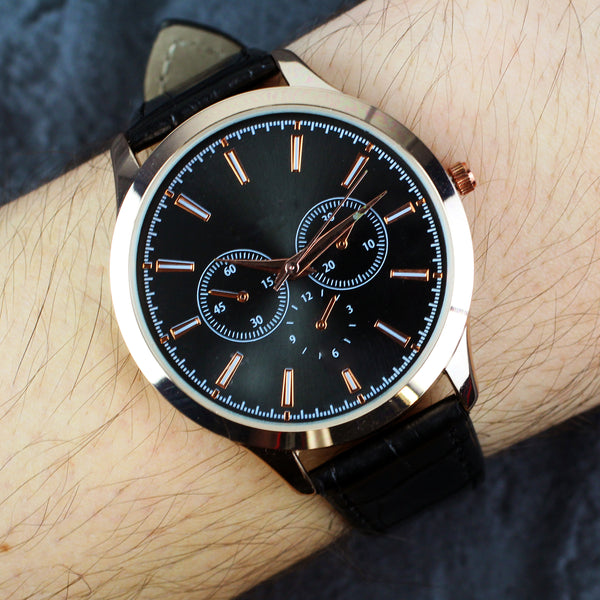 Personalised Mens Rose Gold Watch with Black Strap lifestyle image