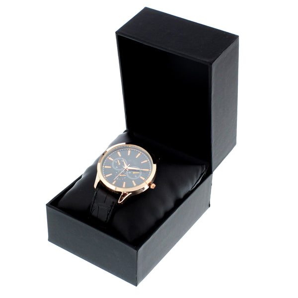 Personalised Mens Rose Gold Watch with Black Strap with personalised name