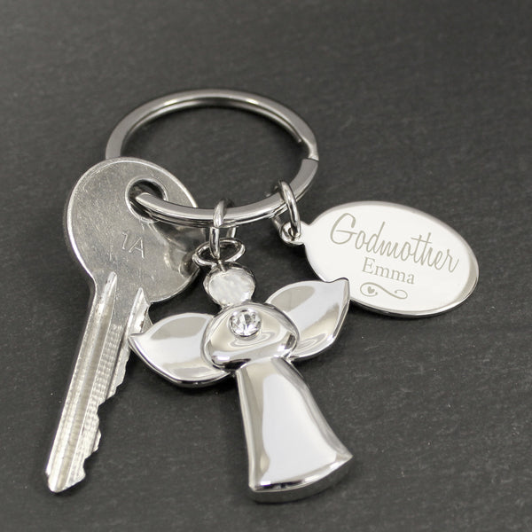 Personalised Silver Plated Swirls & Hearts Godmother Angel Keyring lifestyle image