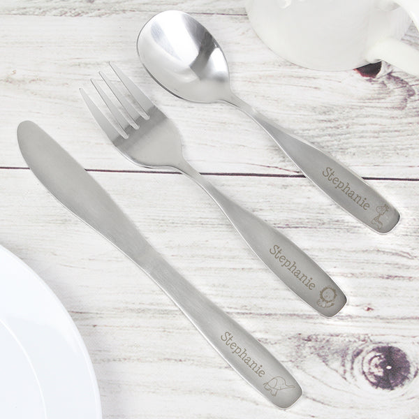 Personalised 3 Piece Hessian Friends Cutlery Set lifestyle image