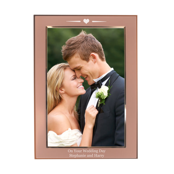 Personalised Rose Gold Heart 6x4 Frame white background
