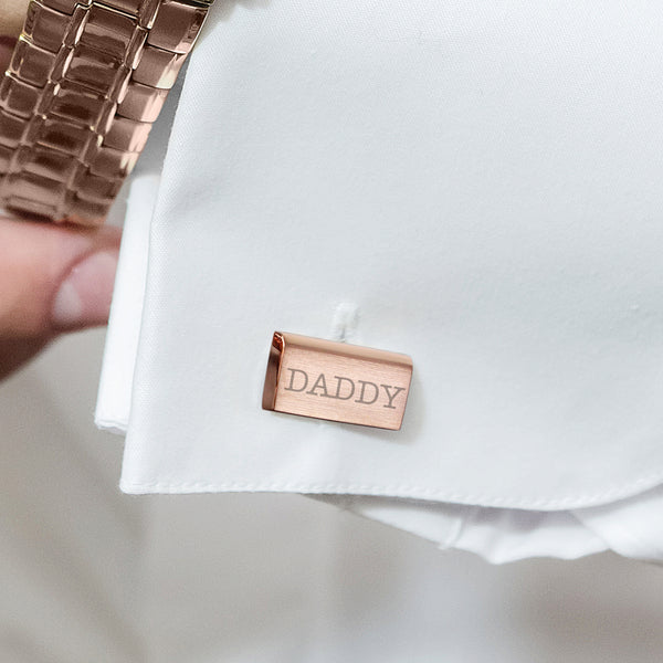 Personalised Classic Rose Gold Plated Cufflinks from Sassy Bloom Gifts - alternative view