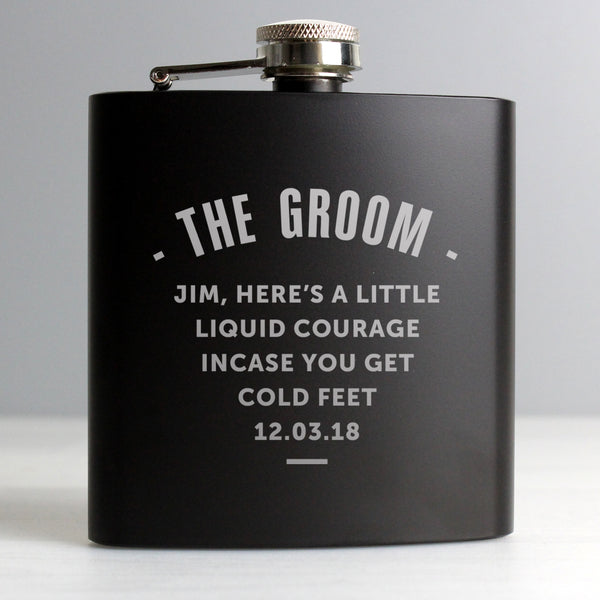 Personalised Any Message Black Hip Flask from Sassy Bloom Gifts - alternative view